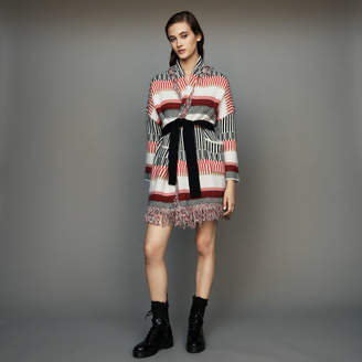 Maje Cardigan in wool blend with fringes