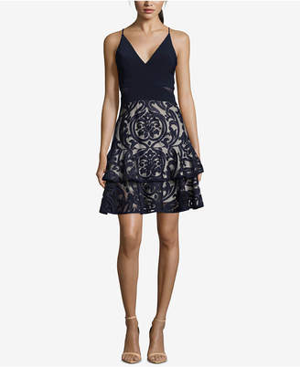 Xscape Evenings Ruffled Damask Fit & Flare Dress
