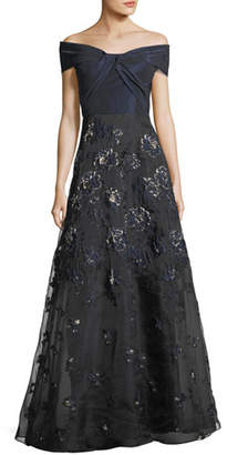 Rickie Freeman For Teri Jon Taffeta Off-the-Shoulder A-Line Gown