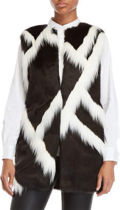 Dawn Levy Faux Fur Print Vest