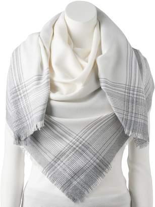 Lauren Conrad Women's Ombre Plaid Trim Square Blanket Scarf