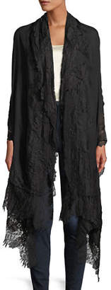 Bindya Accessories Cashmere Evening Stole Wrap w/ Lace Trim