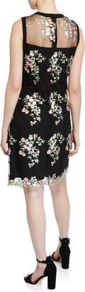 Nanette Lepore Nanette Floral-Embroidered Mesh Sheath Dress