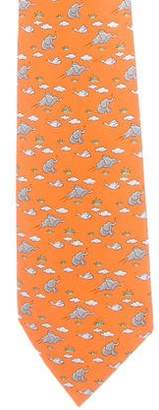 Hermes Elephant Print Silk Tie
