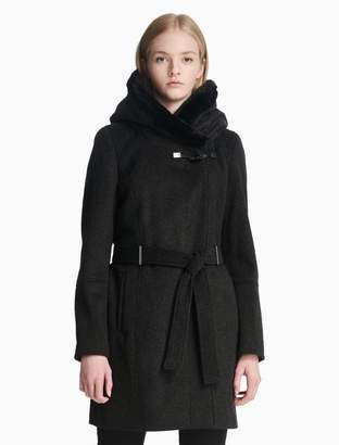 Calvin Klein luxe belted toggle coat