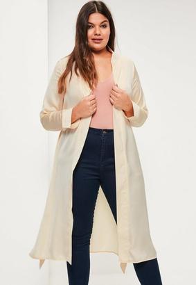 Plus Size Beige Satin Tie Waist Duster Coat $64 thestylecure.com