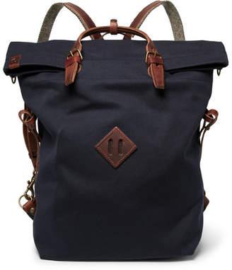 Bleu De Chauffe Bleu de Chauffe - Convertible Leather-Trimmed Canvas Backpack - Navy