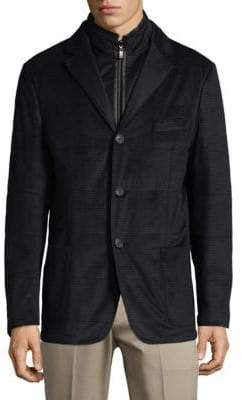 Corneliani 2-in-1 Micro Check Jacket and Full Zip Vest