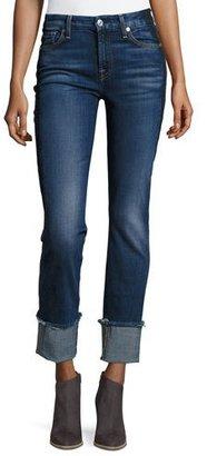 7 For All Mankind Fashion Cuffed Boyfriend Jeans w/Raw-Edge Hem, Blue $229 thestylecure.com
