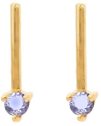 WWAKE One-Step Bar Tonal Sapphire Stud Earrings