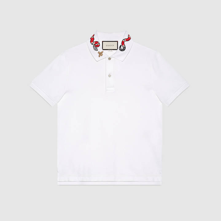 Cotton polo with Kingsnake embroidery 2