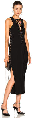 David Koma Lace Up Metal Tube Sides Knit Dress