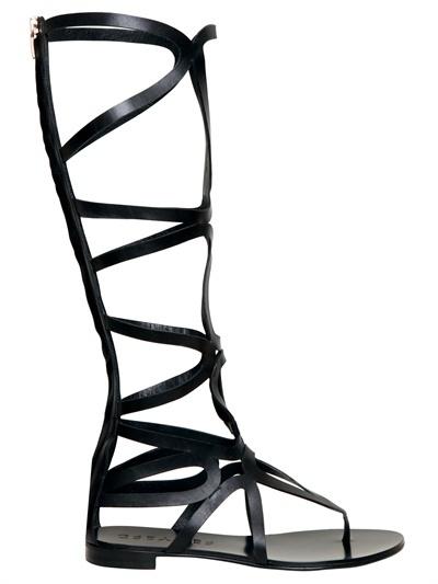 Grey Mer 10mm Leather Gladiator Sandals