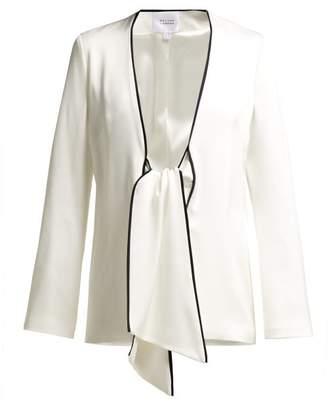 Galvan - Bianca Tie Front Crepe Jacket - Womens - White Black