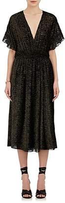 Masscob Women's Metallic Velvet Burnout Midi-Dress