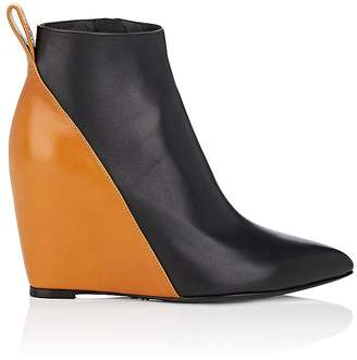 Paco Rabanne WOMEN'S COLORBLOCKED LEATHER WEDGE ANKLE BOOTS