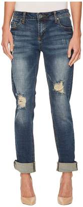 KUT from the Kloth Catherine Boyfriend Wide Cuff Jeans in Impressed/Dark Stone Base Wash Women's Jeans