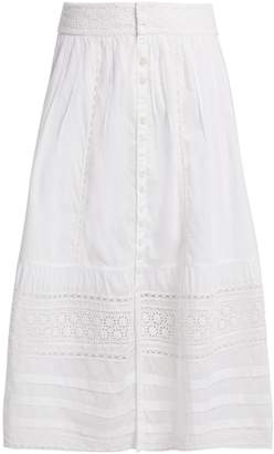 Sea Lace-trimmed cotton skirt