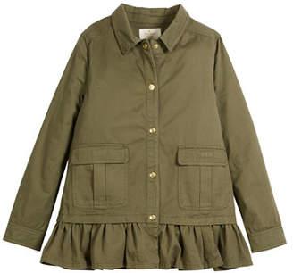 Kate Spade Ruffle-Hem Twill Field Jacket, Size 7-14