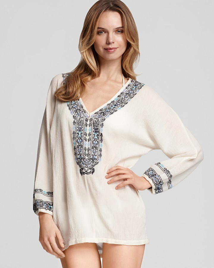 Joie a la Plage Bahamas Gauze Cover-Up with Multi-Color Embroidery