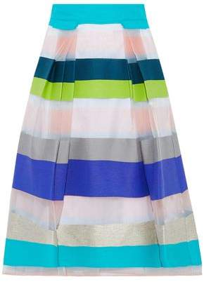 Milly Paneled Striped Organza And Woven Skirt