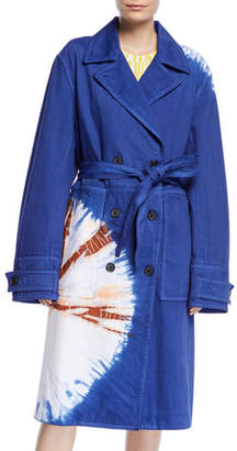 Calvin Klein Tie-Dye Twill Double-Breasted Belted Trench Coat
