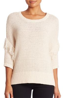 Rebecca Minkoff Tape Yarn Fringe Sweater $148 thestylecure.com