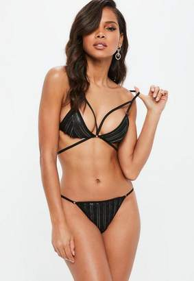 Missguided Faux Leather Strappy Harness Bra