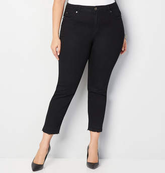 Avenue Released Hem Ankle Jean in Black