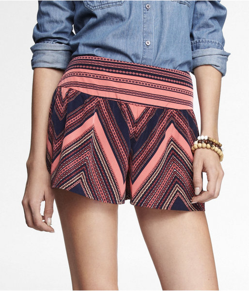 Express 3 Inch Printed Wide Waistband Soft Shorts