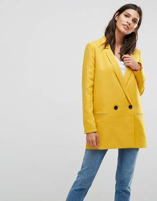 Asos Tailored Double Breasted Mustard Blazer