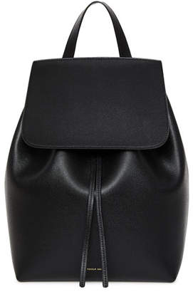 Mansur Gavriel Saffiano Leather Flap-Top Backpack, Black/Red