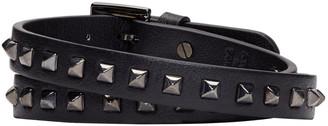Valentino Black Leather Wrap Rockstud Bracelet $395 thestylecure.com