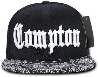 8c4983f26e956f Nothing Nowhere Black Compton Vintage Embroidered Hip Hop Flat Bill Bandana Snapback  Cap Hat