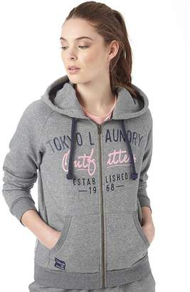 Tokyo Laundry Womens Ellene Space Dye Zip Thru Hoody Mid Grey/White Space Dye