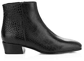 Aquatalia Women's Fuoco Croc-Embossed Leather Ankle Boots