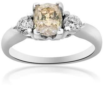 14K White Gold Cushion Cut Fancy Brown Diamond Engagement Ring