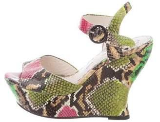 Alice + Olivia Leather Wedge Sandals