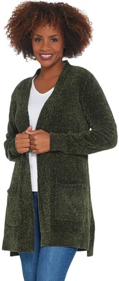 Denim & Co. Petite Chenille Long- Sleeve Open- Front Cardigan