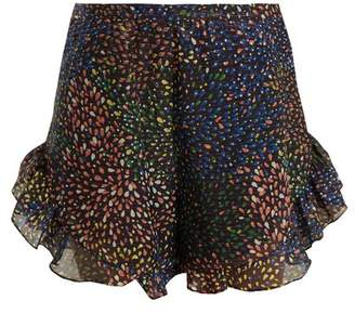 Chloé Abstract Print Ruffle Trimmed Shorts - Womens - Navy Multi