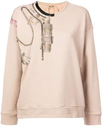 No.21 pin-embellished sweatshirt