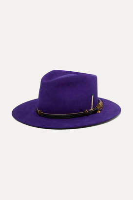 Nick Fouquet Púrpura Embellished Leather-trimmed Rabbit-felt Fedora - Purple