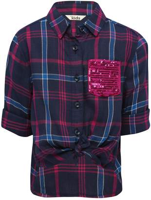 M&Co Knot front sequin pocket checked shirt