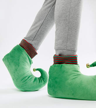 Asos DESIGN christmas elf slippers in green with bell