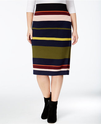 RACHEL Rachel Roy Curvy Trendy Plus Size Striped Sweater Skirt $99 thestylecure.com