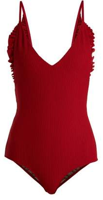 Made By Dawn - Butterfly V Neck Ruffled Trim Swimsuit - Womens - Red