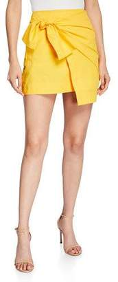 Derek Lam 10 Crosby Draped Faux-Wrap Mini Skirt