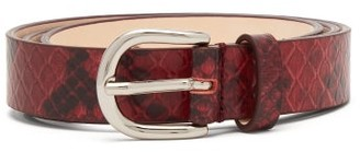 Isabel Marant Zap Snake Effect Leather Belt - Womens - Burgundy