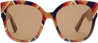 Gucci Square-frame acetate sunglasses with Web