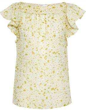 RED Valentino Ruffled Floral-Print Cotton And Silk-Blend Gauze Top